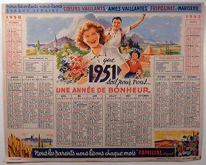 calendrier 1951 avec les jours
