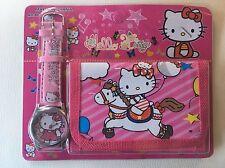 Childrens Girls Rocking Horse Hello Kitty Cat Purse Wallet Watch Toy Gift Set 3
