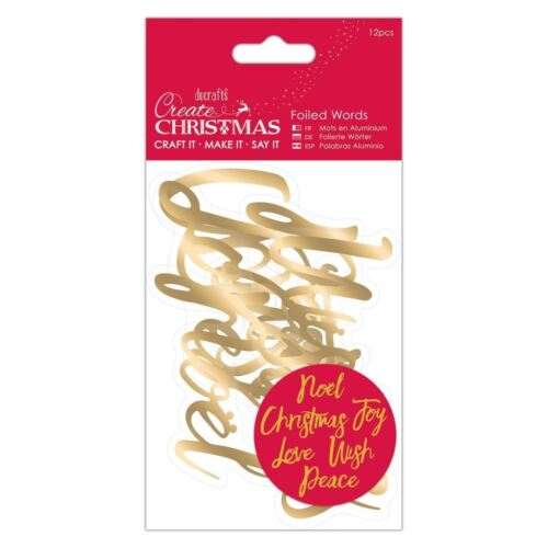 12 pieces - Gold Create Christmas Docrafts Festive Foiled Words