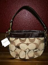NWT COACH 41856 Zoe Signature Top Handle Pouch Brown