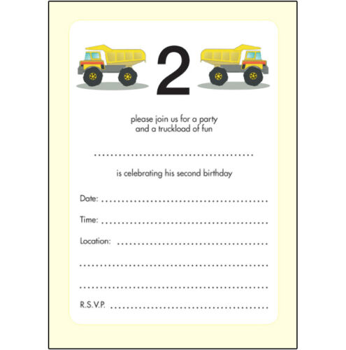 BPIF-12 Trucks 10 Childrens Birthday Party Invitations 2 Years Old Boy   LOOK