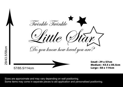 WALL STICKER DECAL QUOTE CHILDREN/'S NURSERY TWINKLE TWINKLE LITTLE STAR