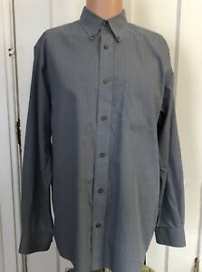 Eddie-Bauer-Shirt-Mens-Size-M-Blue-Long-Sleeve-Medium-Relaxed-Fit-Check