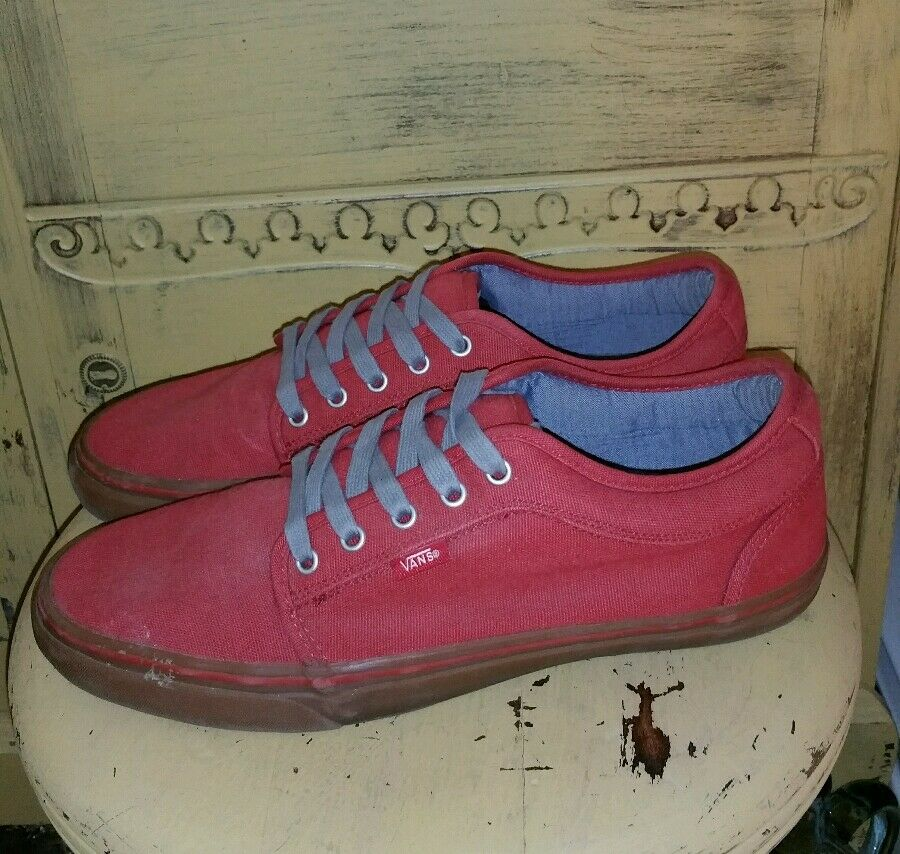 VANS RED CANVAS SKATER SKATEBOARDING KICKS SNEAKERS 12 M LOW TOPS Uomo