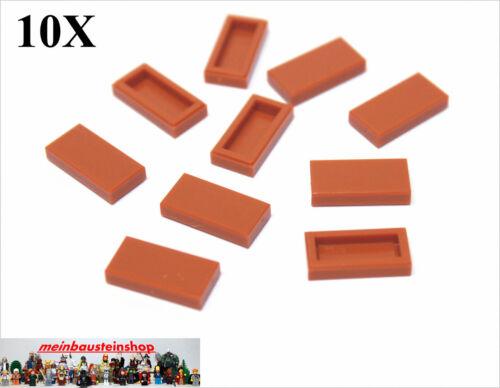 10X Lego® 3069 Fliesen Kacheln Platten Glatt 1X2 Dunkelorange Dark Orange NEU