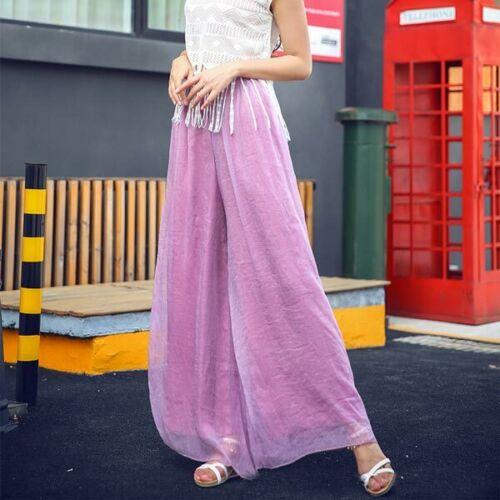Trousers casual pants chiffon maxi wide leg palazzo harem Women flared loose