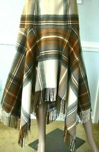 Alexander-McQueen-2005-Fair-Isle-Plaid-Fringe-Dress-Runway-Skirt-US-4-6-IT-42