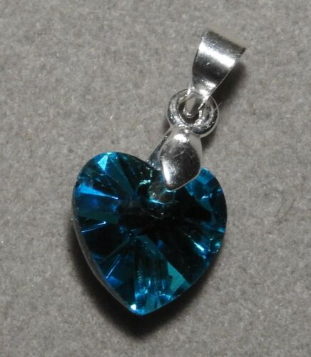 TURQUOISE Crystal HEART Pendant on Silver Bail L136