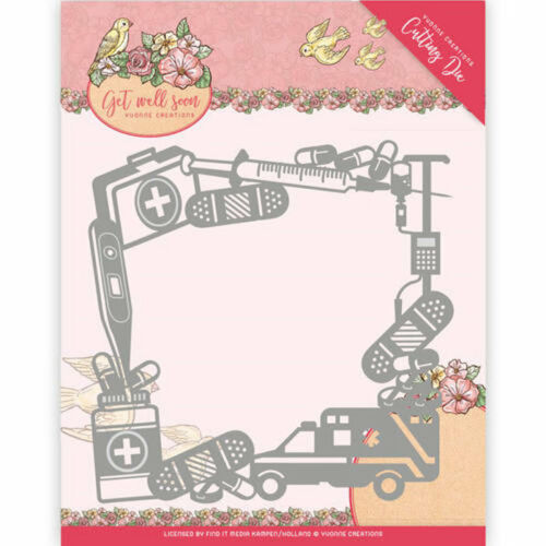 ycd10100 Get Well Frame-stanzschablone de Yvonne Creations