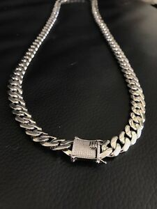 Mens 12mm cuban link 30 solid 925 sterling silver chain w diamond image is loading men 039 s 12mm cuban link 30 034 mozeypictures Images