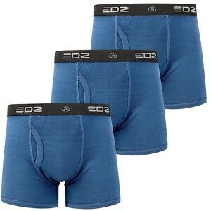 a15dbdadc6b EDZ Merino Wool Boxer Shorts Trunk Underwear Mens Denim Blue (3 pack ...