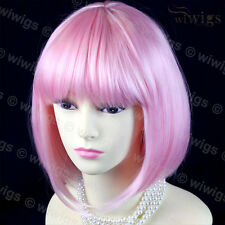 Wiwigs Short Bob Pink Cosplay Heat Resistant Skin Top Ladies Wig