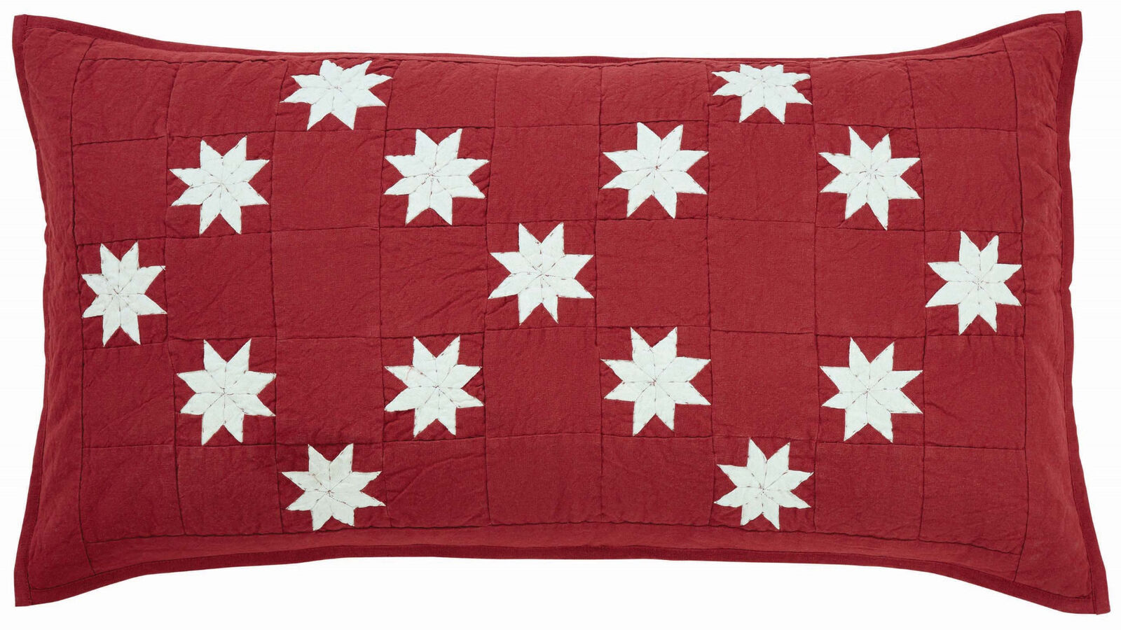 Crimson Red King Pillow Sham Hand Quilted w  Cream Snowflake 8-Point Stars Kent