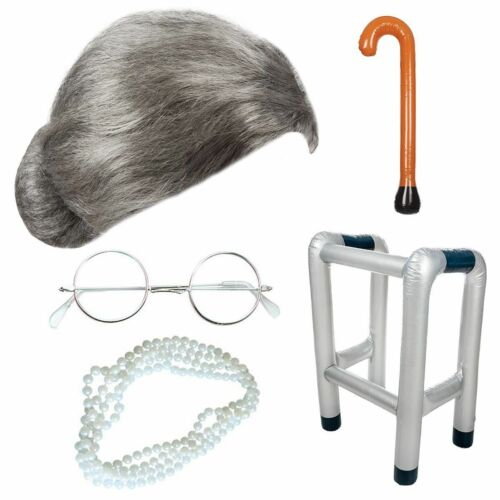 ADULTS GRANNY OLD LADY WIG INFLATABLE ZIMMER FRAME WALKING STICK PEARL BEADS