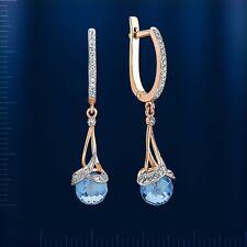 Russische Rose Gold 585 Ohrringe mit Topas Rose gold briolett topaz earrings !