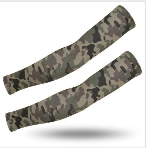 Cooling UV Sun Protection Arm Sleeves Outdoor Cycling Cover Army green camo XL
