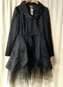 Noir Topic Veste Goth Cosplay Hot 10 Paisley Manteau Taille Nwt Bw1PxAZn