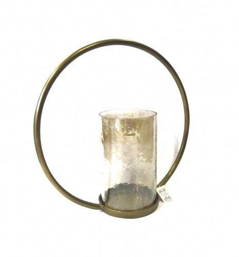Teelicht Kerzenständer XL Modern Gold Metall Glas Rund Design 44 cm