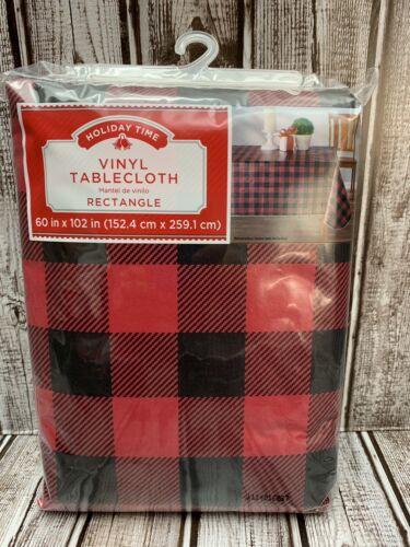 "Christmas Black Red Buffalo Plaid Vinyl Tablecloth 60""x102"" Rectangle Farmhouse"
