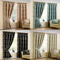 """Arden Plant Tree Ready Made Lined Pencil Pleat 3"""" Pleat Tape Top Curtains Pair"""