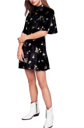 Free PeopleBe My Baby Velvet Floral Mini DressBlack