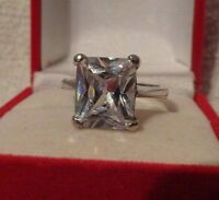 925 Sterling Silver Emerald Cut 12mm X 10mm Clear Cubic Zirconia Ring 6 8 9