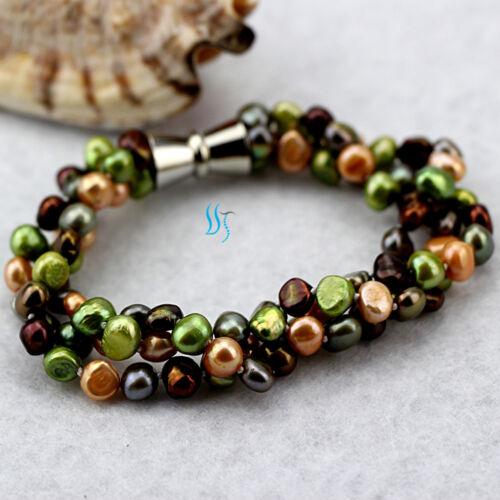 "20/"" 8/"" 5-6mm MultiColor Baroque 3Row Freshwater Pearl Necklace Bracelet D—BUNDLE"