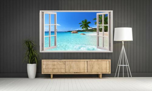 2 Beach Landscape view Fenêtres 3D TOILE murale ART Photo Print