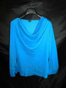 Ann-Taylor-Size-18-Blue-Blouse-Draped-Neck-Long-Sleeve-Shirt-Day-Evening-Top-XL