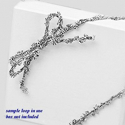 """Metallic Silver Braided 6/"""" Pre-tied Stretch Loops for Jewelry Gift Boxes 50pc"""