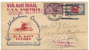 US 1938 Navy Cvr Uss Nashville Guantanamo Bahía Especial Entrega A Philadephia W