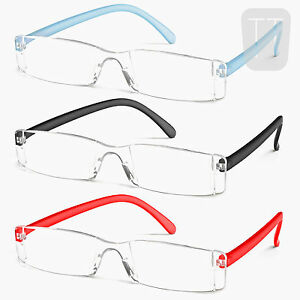 3-PAIRS-NEW-RIMLESS-READERS-READING-GLASSES-MANY-COLOURS-STRENGTHS-1-5-to-4-0
