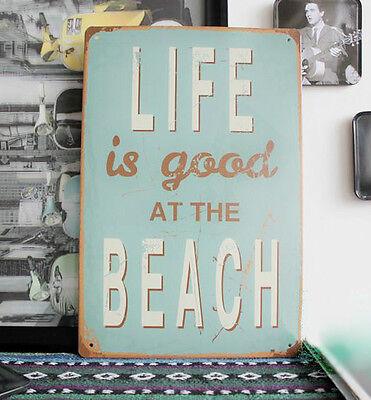 Vintage Tin Sign Wall Retro Metal Bar Poster Motivational Life Is Good at Beach