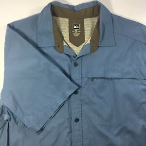 REI Co-op Sahara Tech Blue XL Short Sleeve Shirt Vented Breathable Hiking