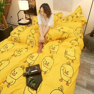 Yellow-Duck-Print-Bedding-Set-Duvet-Quilt-Cover-Sheet-Pillow-Case-Four-Piece-HOT