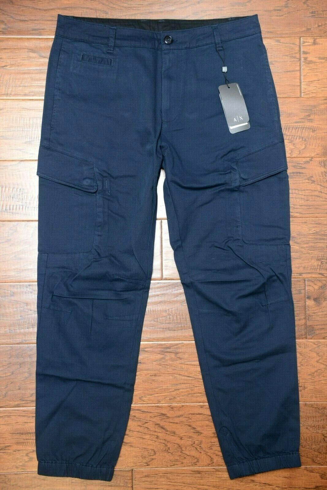 Armani Exchange A X Men Stretch Cotton Navy Casual Cargo Jogger Pants 32