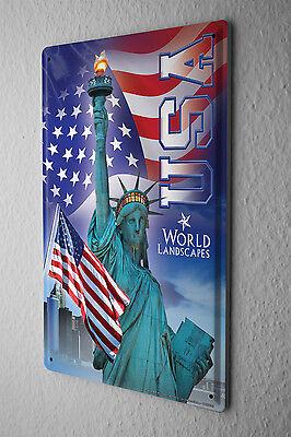 Blechschild Weltenbummler Freiheitsstatue Usa Flagge Metallschild 20x30 Cm Stabile Konstruktion