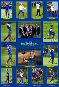 RYDER-CUP-SIGNED-PRINT-PHOTO-POSTER-TEAM-EUROPE-AUTOGRAPH-MCILROY-GOLF-GIFT-2014