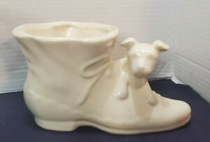 Vintage Shawnee Pottery Dog On Shoe Yellow ware Mid Century Planter Cream