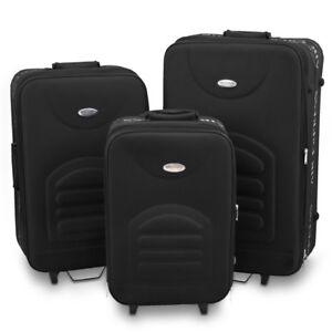 Kofferset 3-teilig Reisekoffer Trolley Softcase Gepäck Traveler Line Schwarz