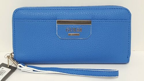 Guess Bobbi Blue Capri Multi Zip Around Large Wallet Clutch NWT