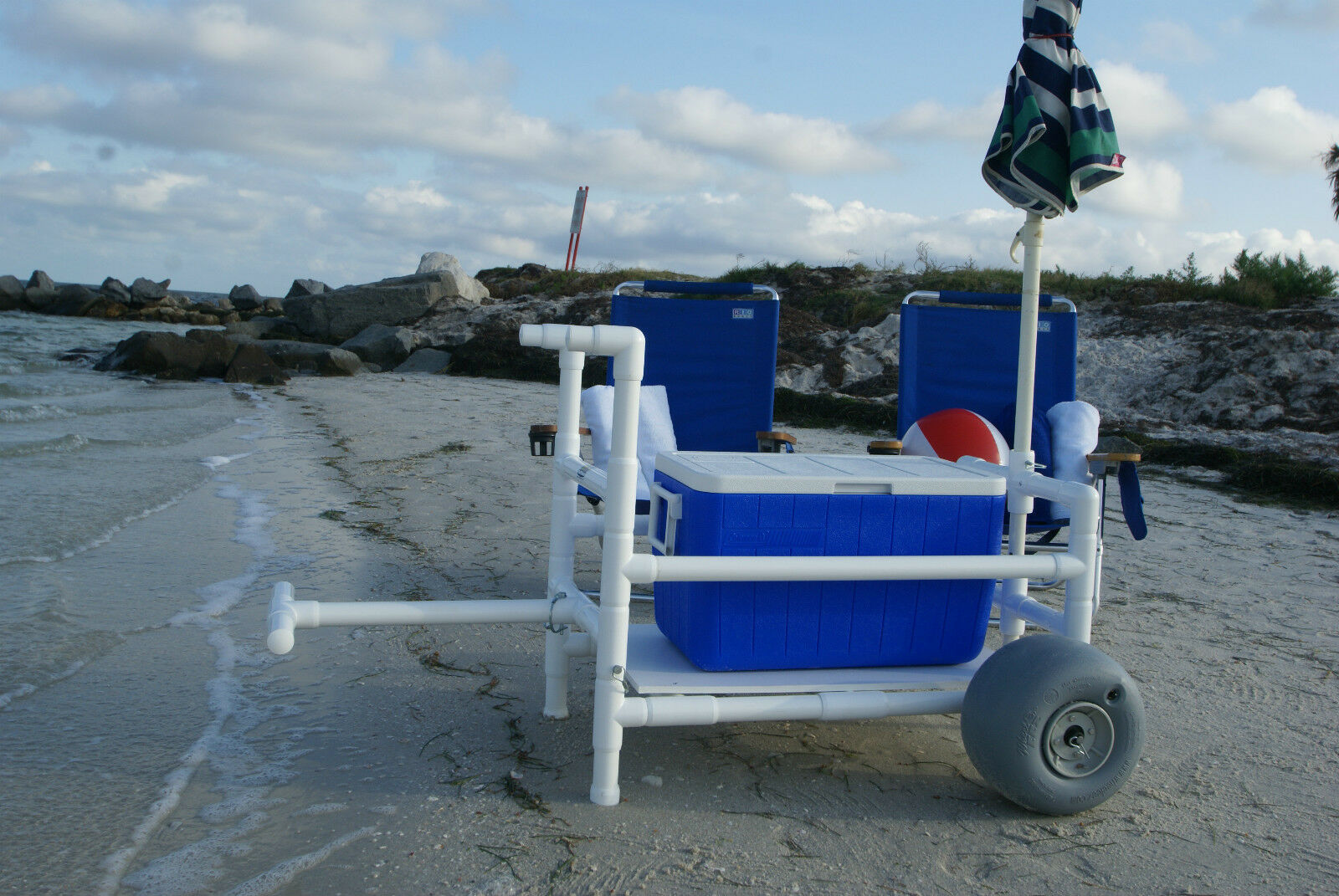 CartMakers Beach Cart- Heavy Duty- PVC- With Xtra Wide Wheeleez Tires