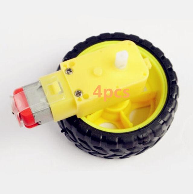 4PCS  Smart Car Robot Plastic Tire Wheel with DC 3-6v Gear Motor