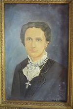 VTG Portrait Oil Painting Mary Baker Eddy Christian Science 1971 Signed Folk Art