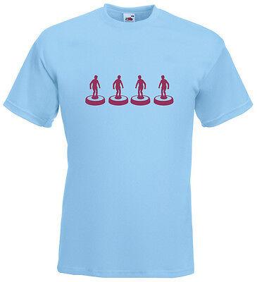 Subbuteo Back Four Silhouette Claret Design Men/'s Sky Blue T-Shirt