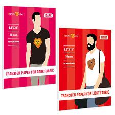 20 Sheets Printable Vinyl Dark Light Iron On Transfer Paper For T Shirt Inkjet