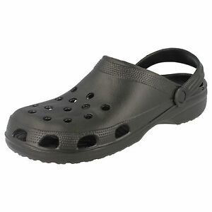 Mens black Slip On Synthetic Clog Sandals Style