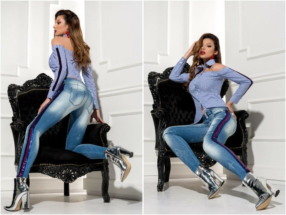 FOGGI Damen Blause Tunika Top Shirt  34,36,38 Blau mit Weiß gestreift