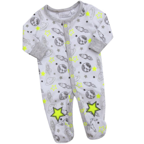 Baby Boys Space Print Cotton Romper Babygrow Sleepsuit Bib Newborn Astronaught