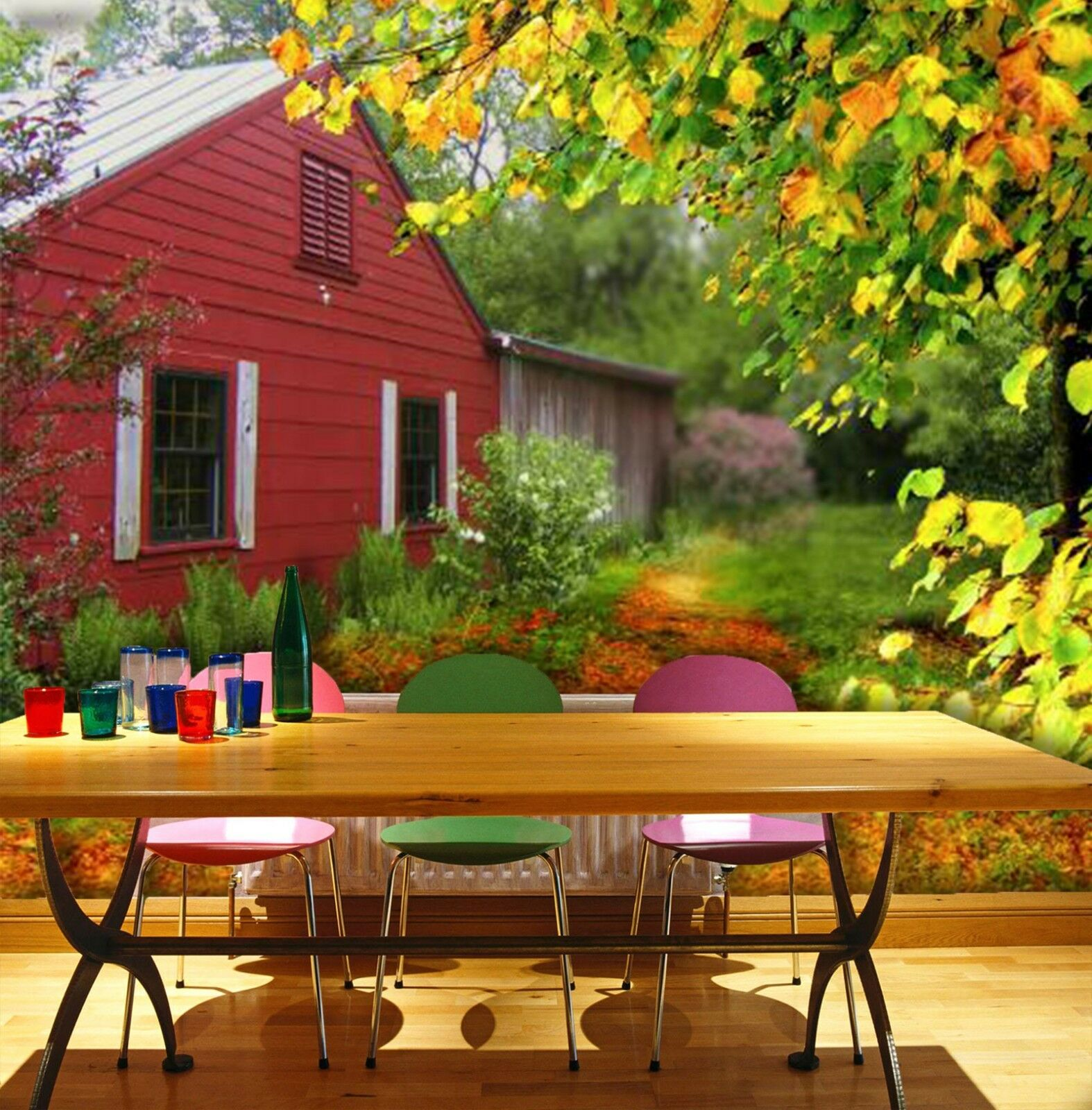 3D House autumn 3525 Wall Paper Wall Print Decal Wall Indoor Murals Wall US